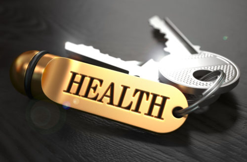 Keys to Health. Concept on Golden Keychain.